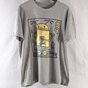 2 sided KIeith Haing Graphic T Shirt Gray and Gold
